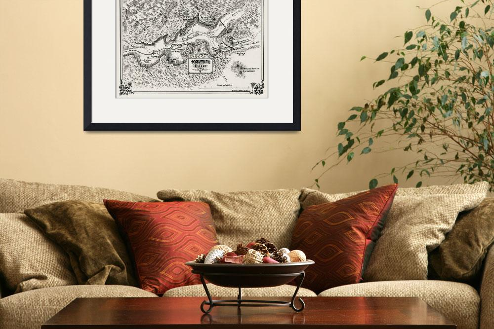 """""""Yosemite Valley Antique Map 1860&quot  (2019) by WilshireImages"""