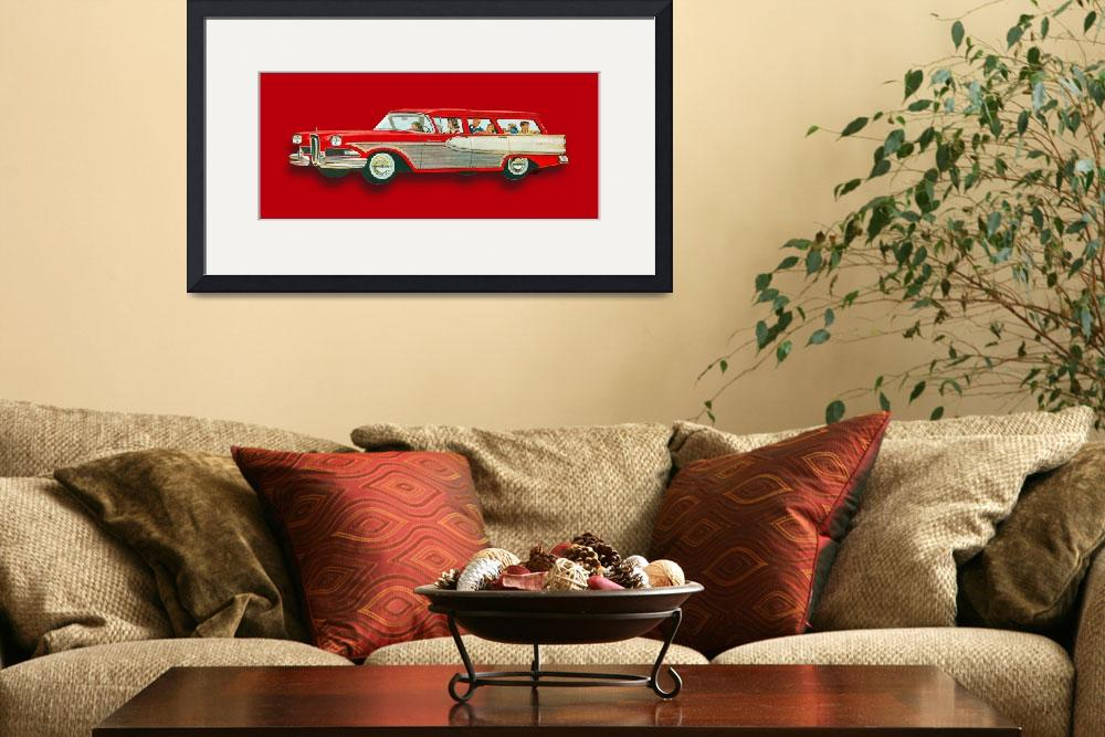"""""""Edsel Car Advertisement Wagon Red""""  (2018) by RubinoFineArt"""