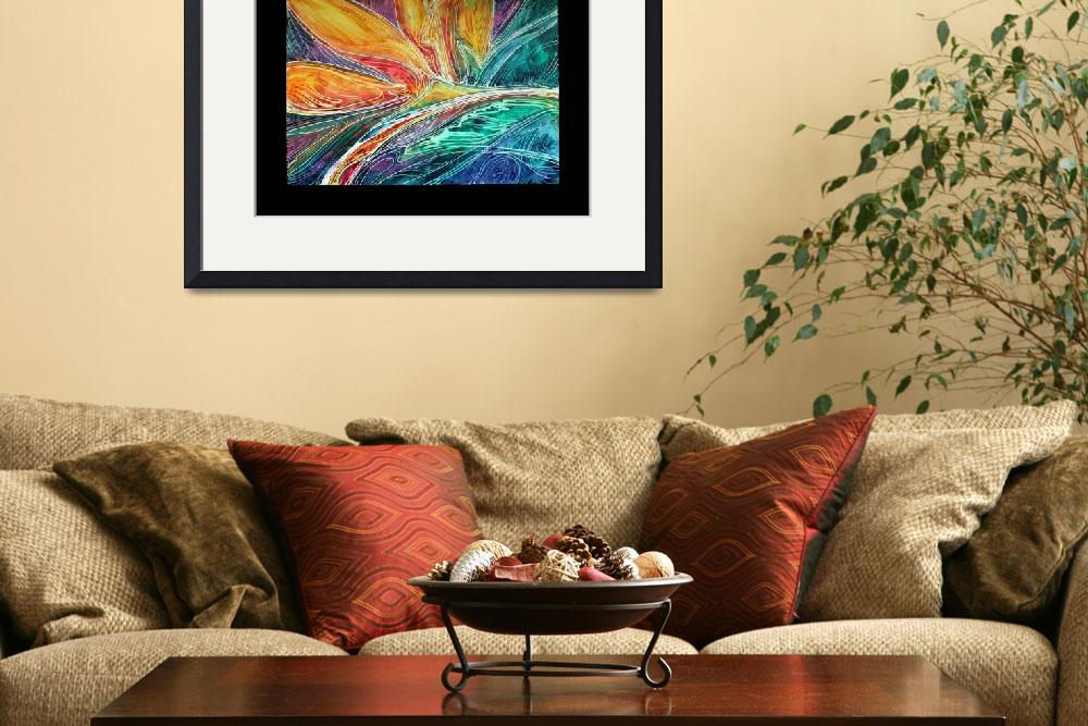 """BIRD of PARADISE ABSTRACT in BATIK&quot  (2011) by MBaldwinFineArt2006"