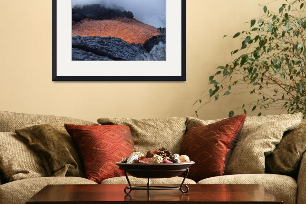 """Lava flowing into sea, Kilauea volcano, Big Island&quot  by stocktrekimages"