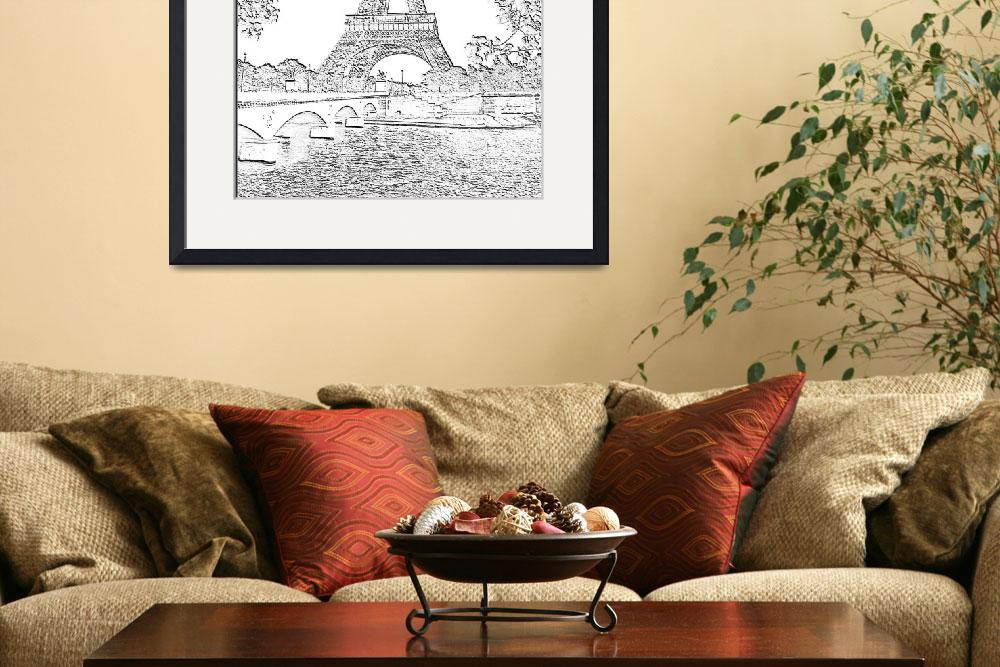 """Eiffel Tower Seine River Charcoal Cropped x 2&quot  (2013) by TheNorthernTerritory"