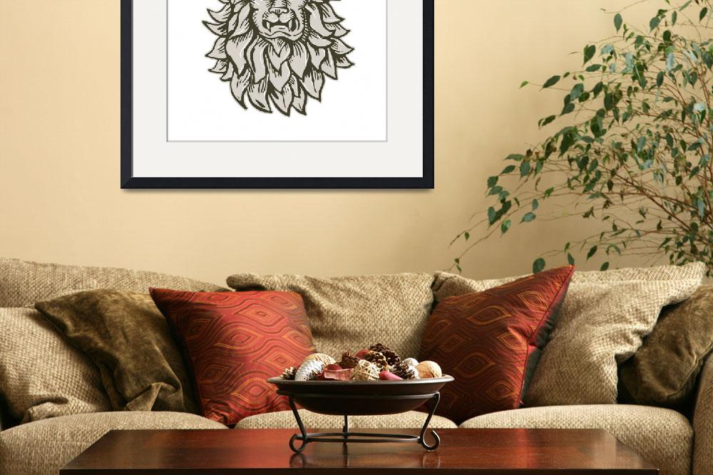 """""""Angry Lion Big Cat Head Etching&quot  (2015) by patrimonio"""
