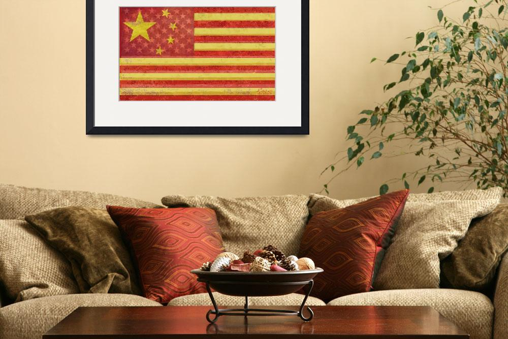 """Chinese American Flag Blend&quot  (2013) by RubinoFineArt"