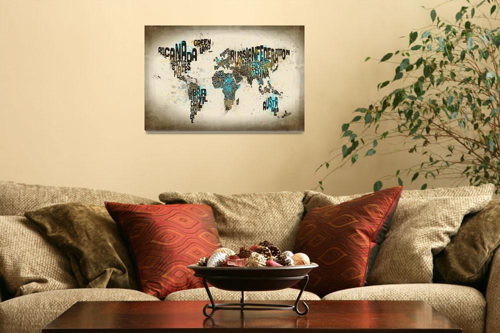 """""""Paint Splashes Text Map of the World&quot  (2014) by ModernArtPrints"""