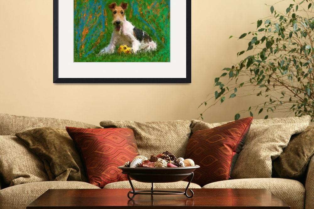"""Wired Fox Terrier with ball&quot  (2011) by kring"