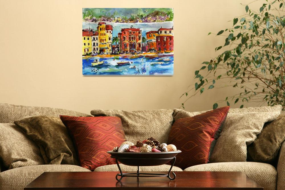 """Italian Riviera Sestri Levante Watercolor&quot  (2008) by GinetteCallaway"