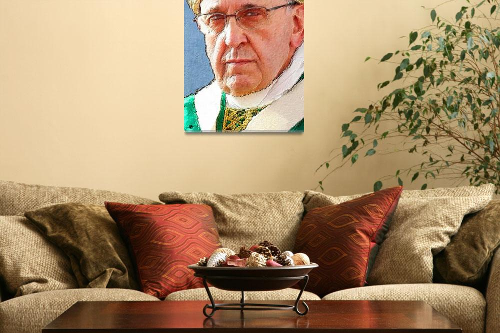 """""""Pope Francis Acrylic Portrait 2&quot  (2016) by RubinoFineArt"""