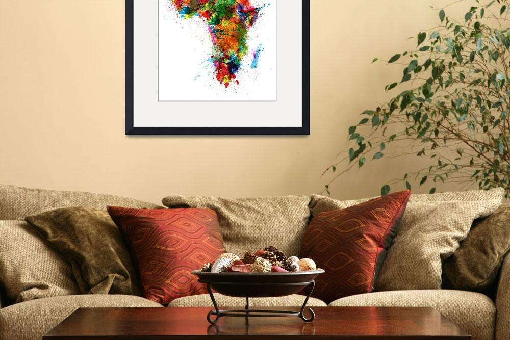 """Paint Splashes Map of Africa Map&quot  (2012) by ModernArtPrints"