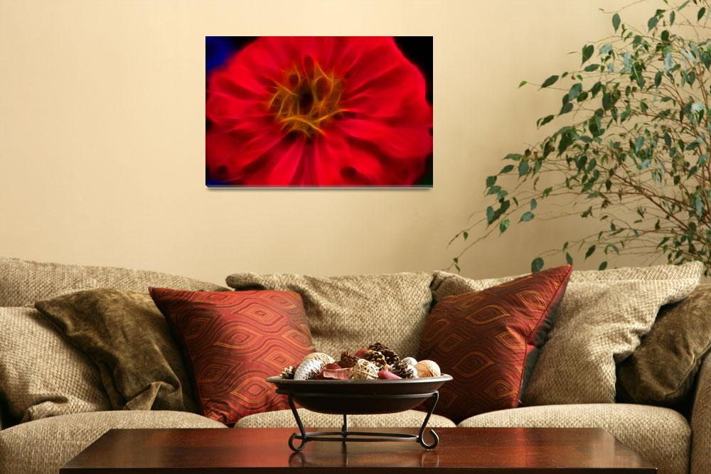 """""""Abstract Red Flower Framed&quot  by bloomingvinedesign"""