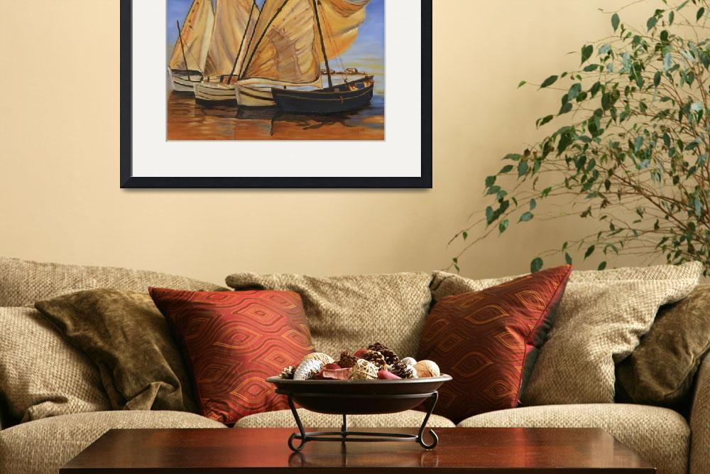 """Evening Sailboats I&quot  (2009) by LeagueStudios"