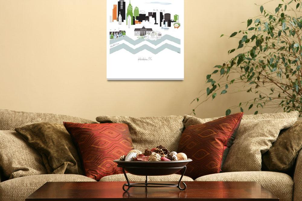 """""""Philadelphia Modern Cityscape Illustration&quot  by AlbieDesigns"""