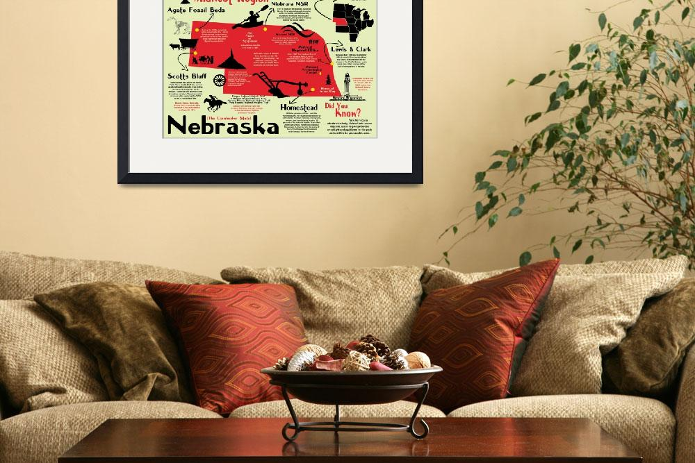 """""""Nebraska National Parks Infographic Map&quot  by Alleycatshirts"""