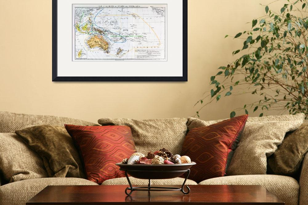 """""""Map of the races of Oceania and Australasia&quot  by fineartmasters"""