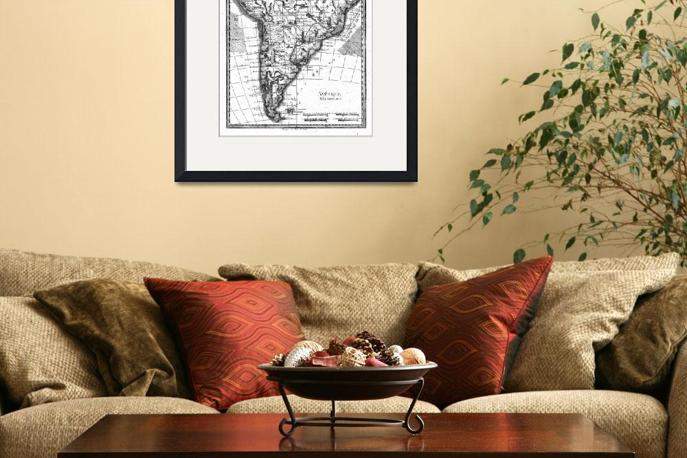"""""""Vintage Map of South America (1780) BW&quot  by Alleycatshirts"""