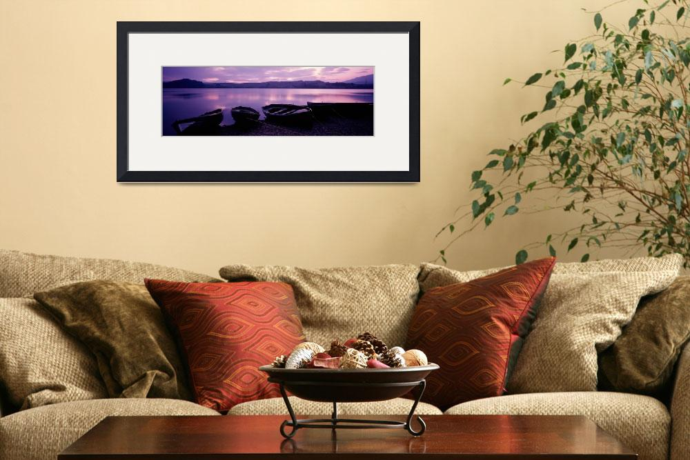 """""""Sunset Fishing Boats Loch Awe Scotland&quot  by Panoramic_Images"""