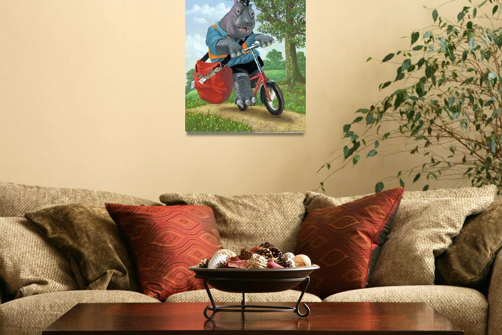 """""""hippo post man on cycle""""  (2010) by martindavey"""