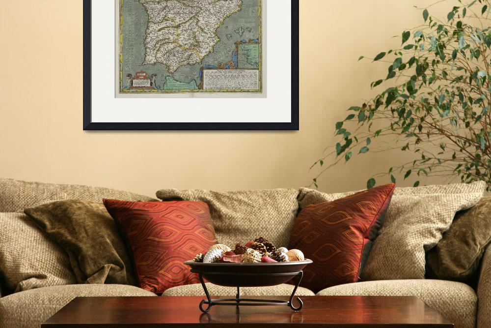 """""""Vintage Map of Spain (1608)&quot  by Alleycatshirts"""