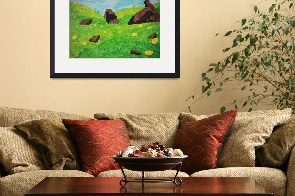 """""""Flowered Hillside with Large Rocks""""  (2011) by suegue"""