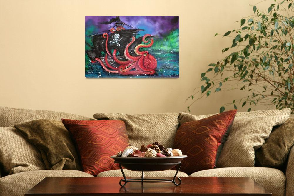"""""""A Pirates Tale - Attack Of The Mutant Octopus""""  (2014) by ArtPrints"""