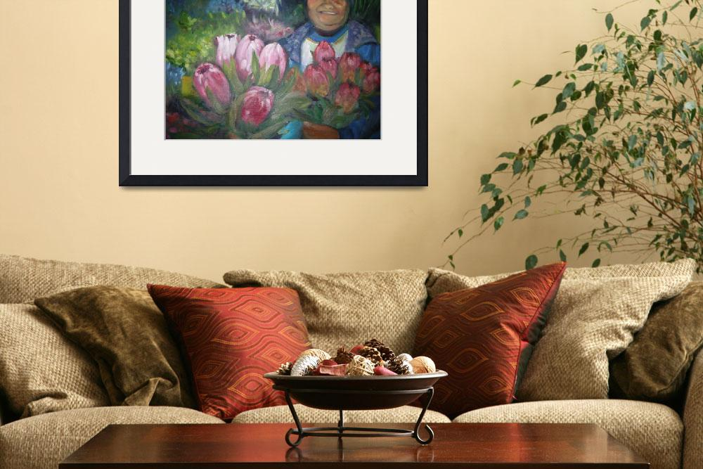 """Flower seller with proteas""  (2010) by irenee"