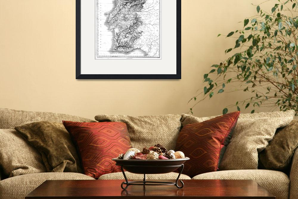 """""""Vintage Map of Portugal (1818) BW""""  by Alleycatshirts"""