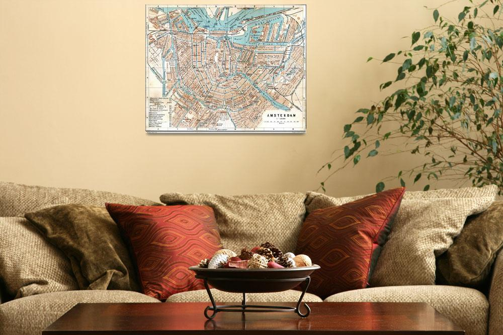 """""""Vintage Map of Amsterdam (1905)&quot  by Alleycatshirts"""