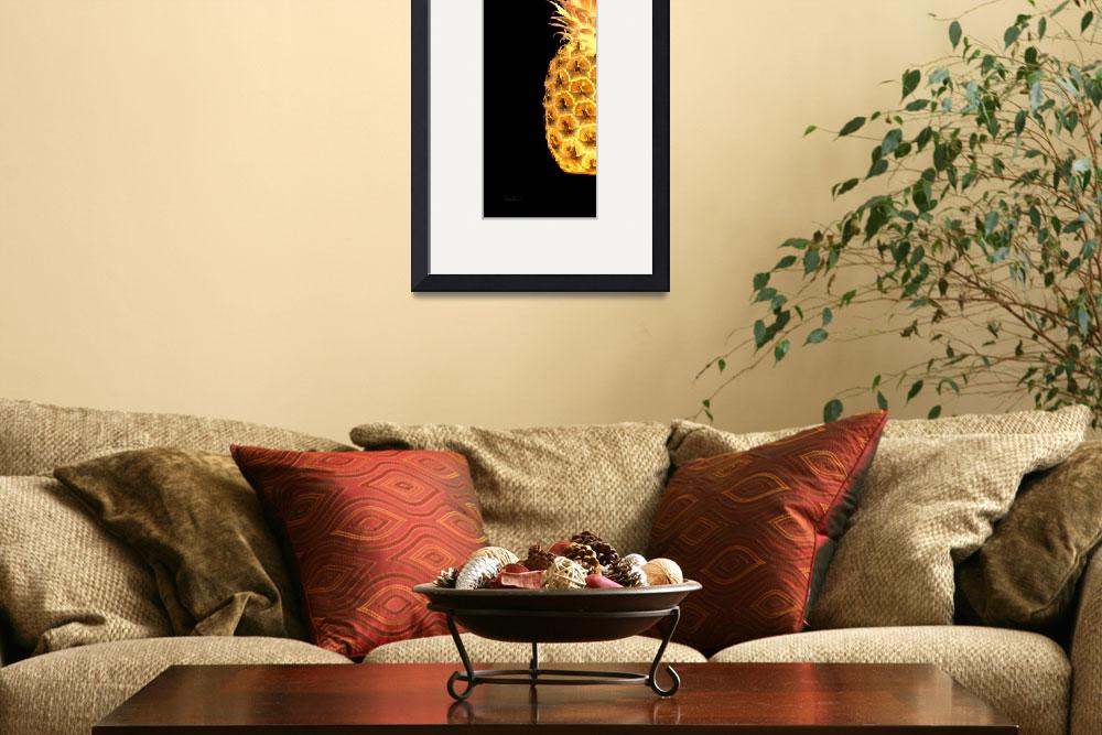 """""""14Gl Artistic Glowing Pineapple Digital Art Gold&quot  (2016) by Ricardos"""