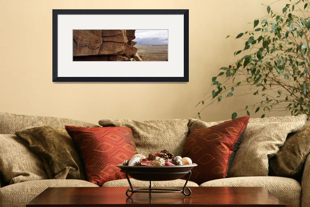 """""""Petroglyphs on rock formations on a landscape&quot  by Panoramic_Images"""