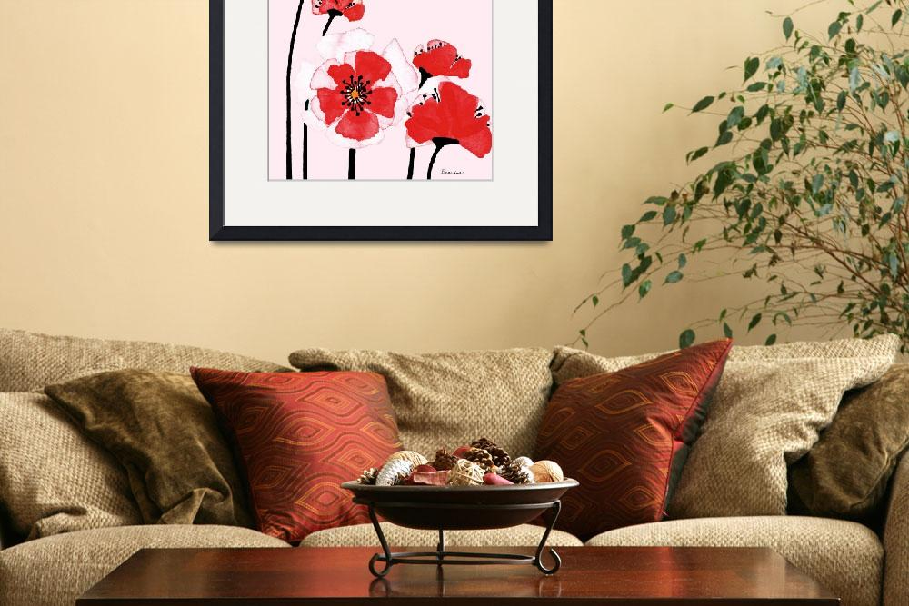 """Expressive Wild Red and Pink Poppy Field w3d""  (2014) by Ricardos"