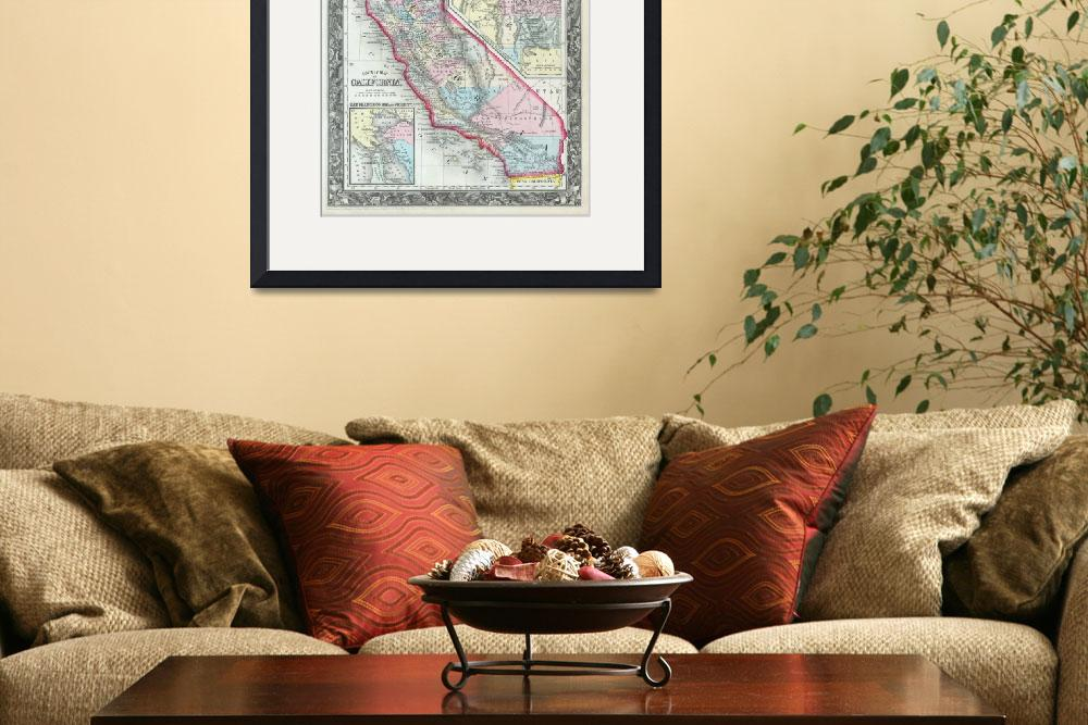 """""""Vintage Map of California (1860)&quot  by Alleycatshirts"""