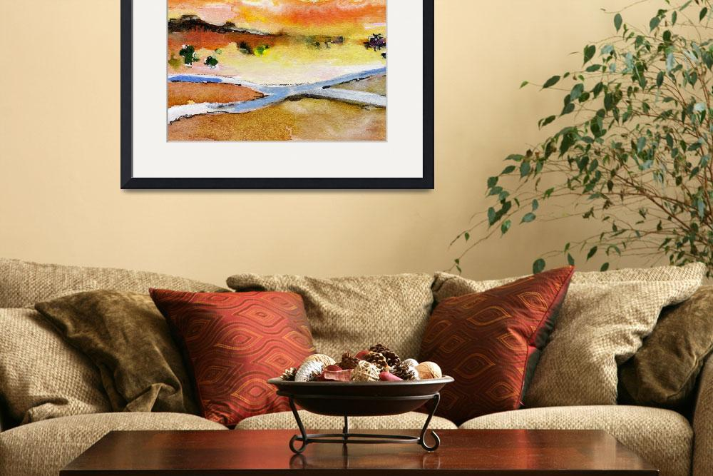 """""""Sun Rising Square Landscape Crossroads Watercolor&quot  (2006) by GinetteCallaway"""