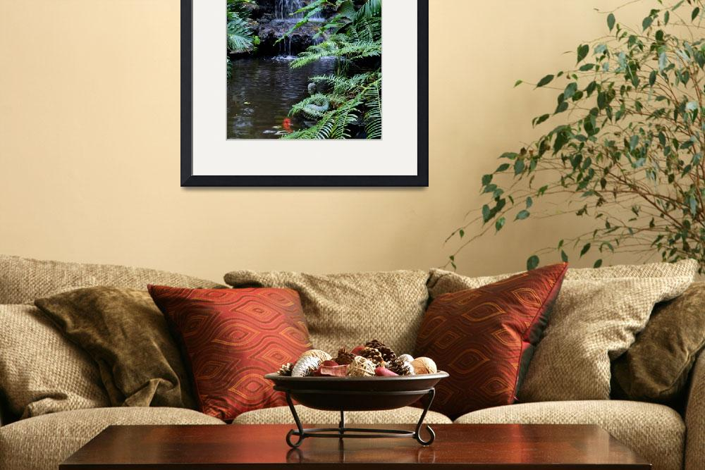 """""""Tropical Waterfall with Koi Pond&quot  (2015) by Groecar"""