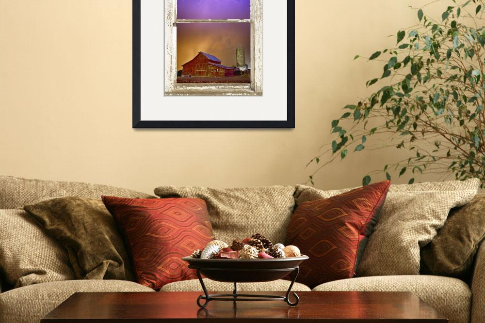 """""""Colorful Storm Rustic Farm House Window View&quot  (2014) by lightningman"""