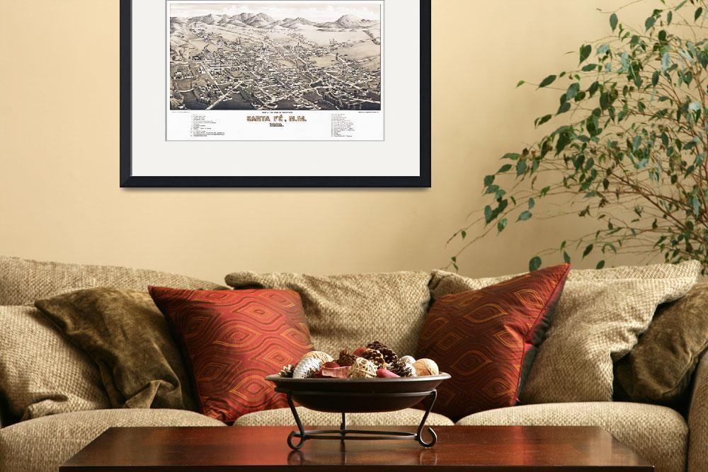 """""""Santa Fe New Mexico Panoramic Map""""  by ArtLoversOnline"""