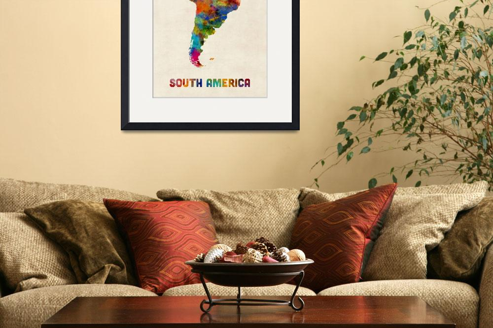 """""""South America Watercolor Map&quot  (2016) by ModernArtPrints"""