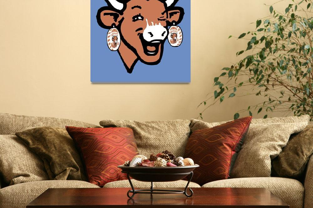 """""""The Laughing Cow Pop 2 - Brown on Blue""""  (2015) by peterpotamus"""