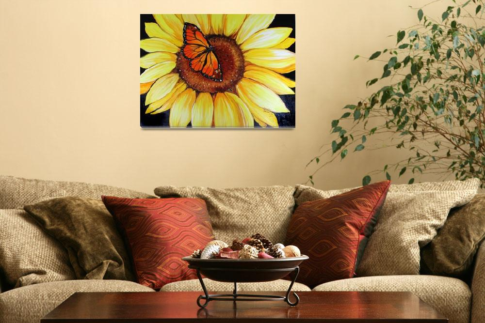 """SUNFLOWER & BUTTERFLY by MARCIA BALDWIN&quot  (2010) by MBaldwinFineArt2006"