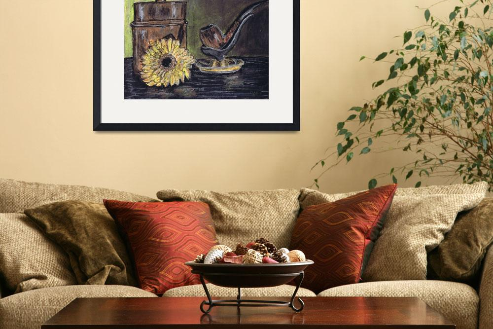 """""""pipe, canister, and yellow flower, still life&quot  (2014) by artprintsgalore"""