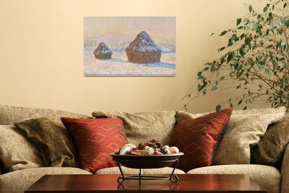 """""""Wheatstacks, Snow Effect, Morning by Claude Monet&quot  by FineArtClassics"""