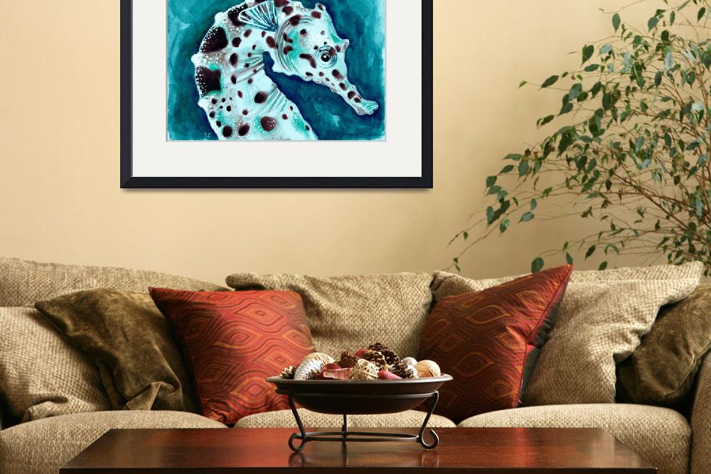 """turquoise sea horse&quot  (2014) by artdeep"
