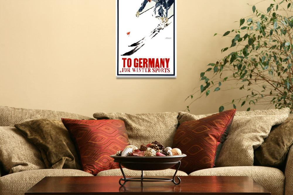 """""""Vintage Skiing Winter Sports Germany Travel""""  by PDGraphics"""