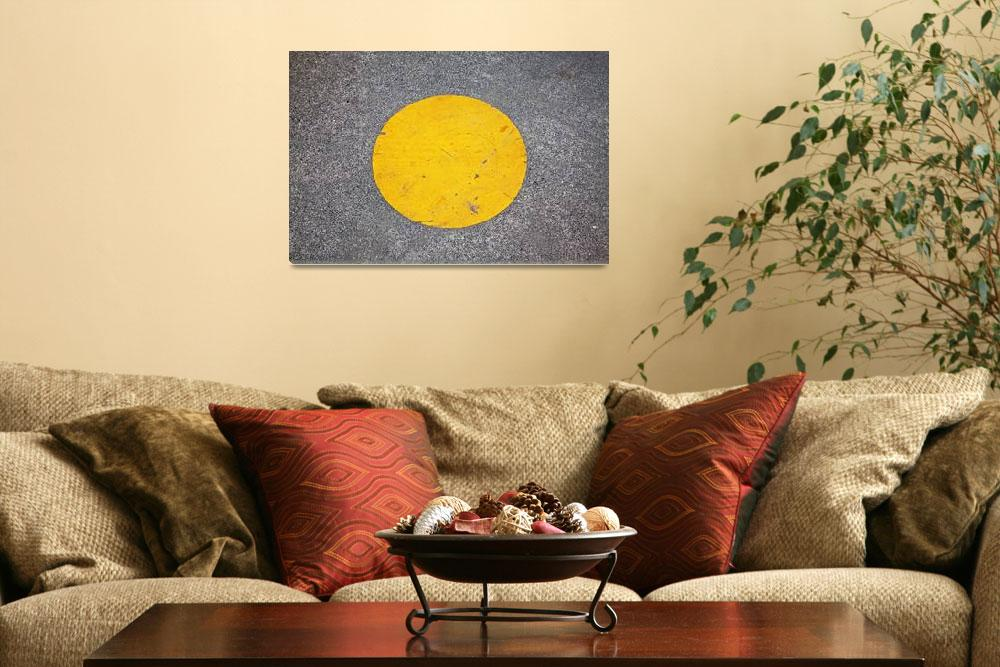 """""""yellow circle painted on park walkway&quot  (2010) by nathangriffith"""