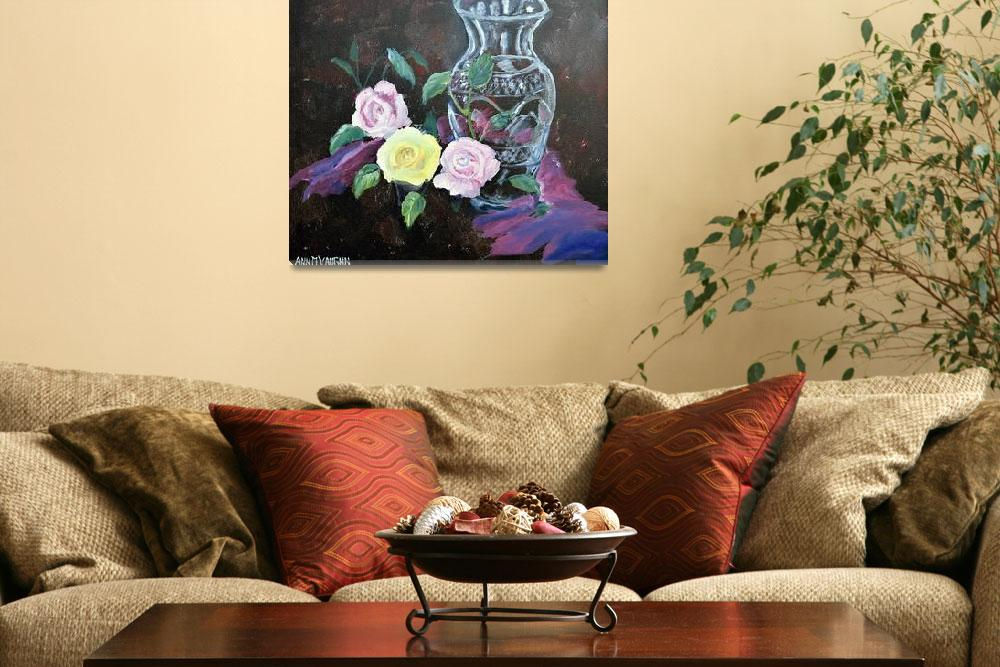 """""""Three Roses and Waterford Vase&quot  (2013) by AMVaughn"""
