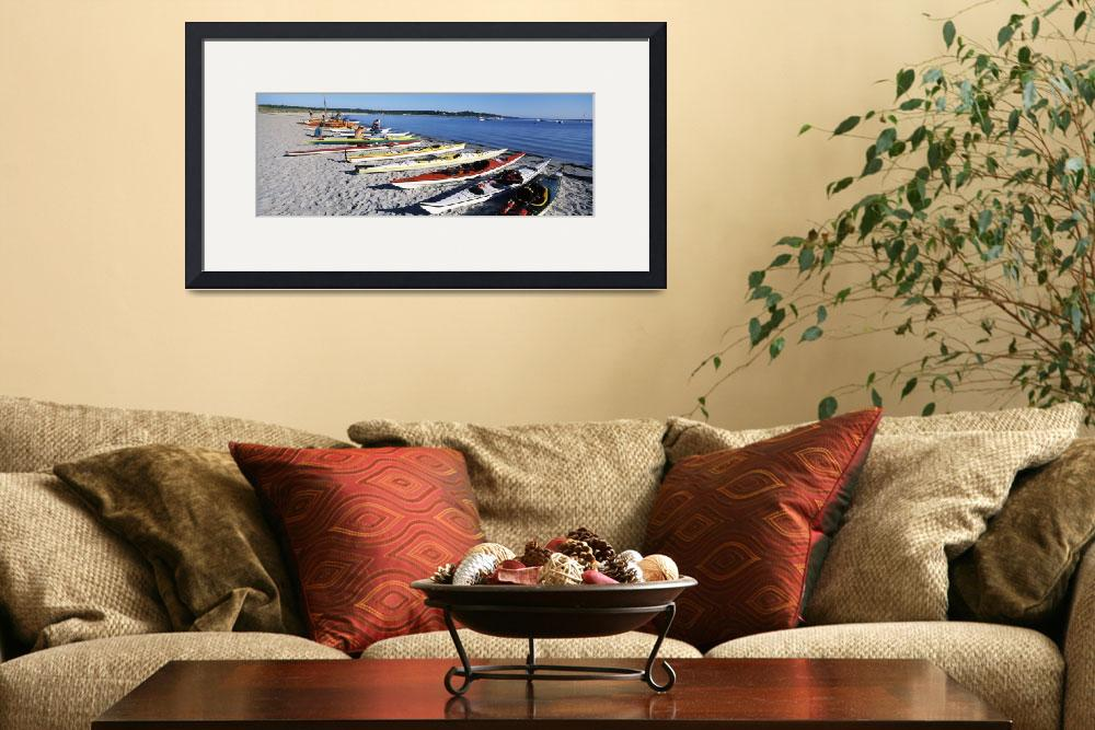 """""""Kayaks on the beach Third Beach Sakonnet River Mi&quot  by Panoramic_Images"""
