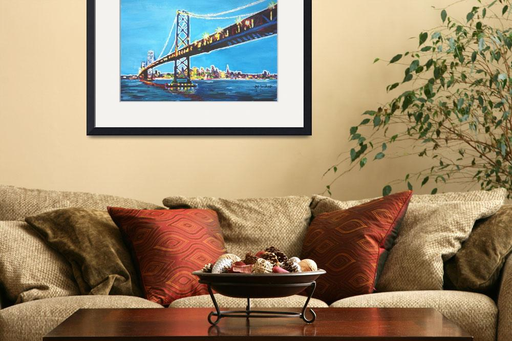 """""""Neon Shimmering Skyline Silhouette of San Francisc&quot  (2014) by arthop77"""