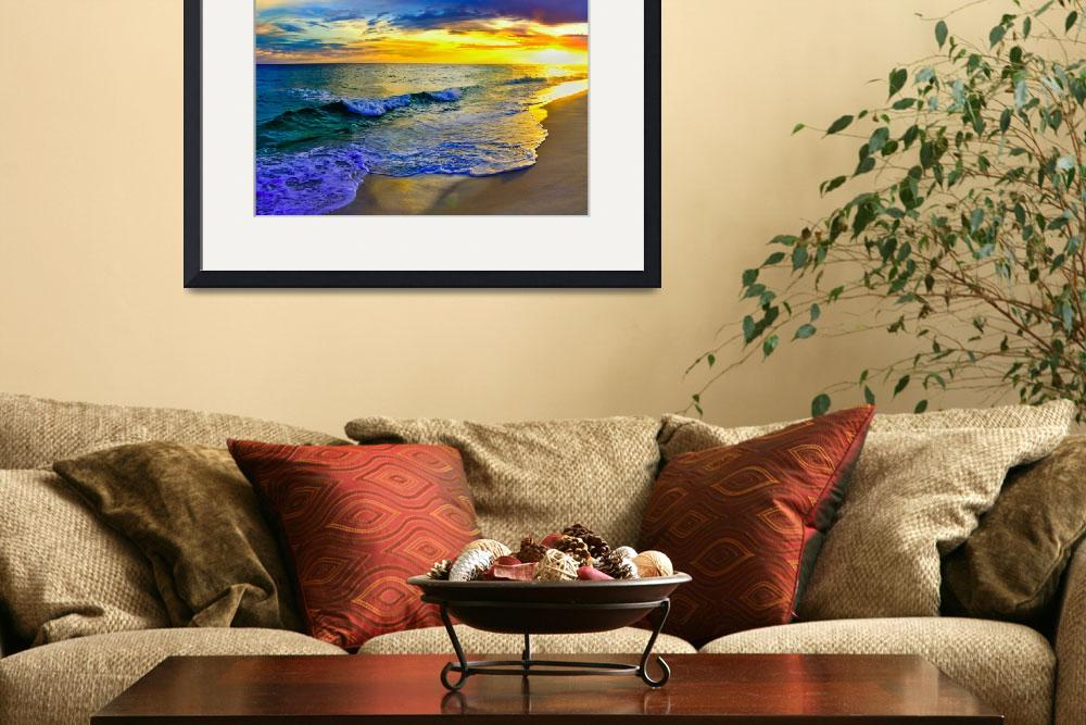 """Yellow Sunset Beach Shore Fine Art Giclee Prints&quot  (2013) by eszra"