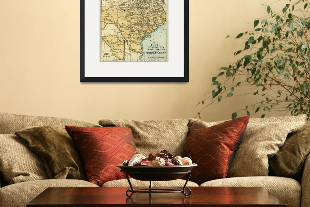 """""""Oklahoma and Texas Antique Map 1891&quot  (2016) by WilshireImages"""