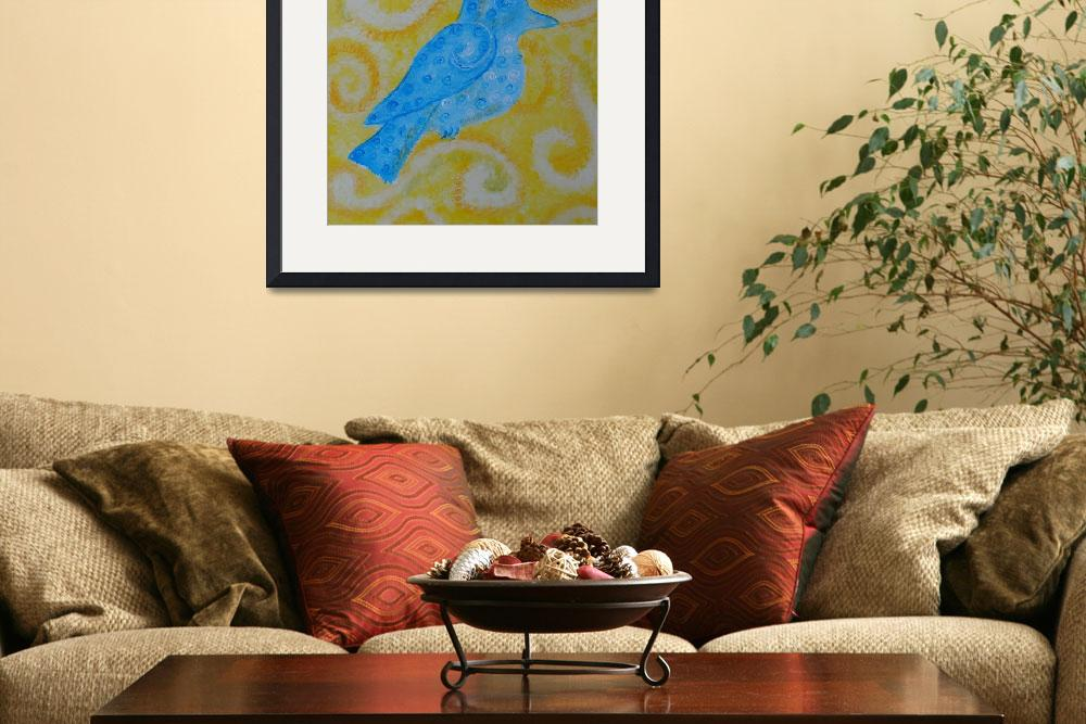 """""""bluebird on yellow&quot  (2014) by Desray"""