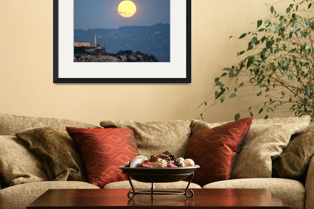 """""""Alcatraz Lighthouse Harvest Fullmoon&quot  by sfbayimages"""