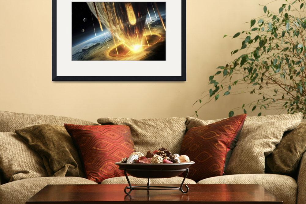 """""""A giant asteroid collides with the earth""""  by stocktrekimages"""